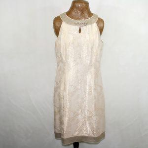 Antonio Melani Size 14 Gold Brocade Silk MOB Dress